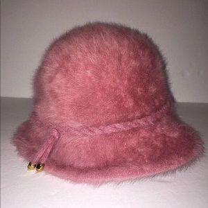 VTG Kangol B Altman & Co Hat 70s Pink Fuzzy Angora